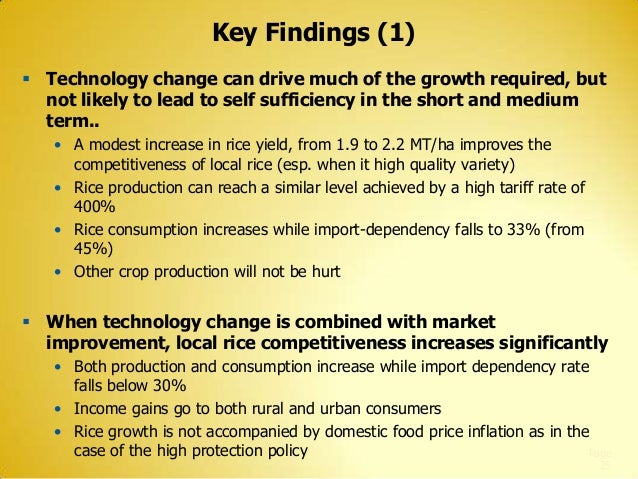 Key Findings (1)  Technology change can drive much of the growth required, but not likely to lead to self sufficiency in ...