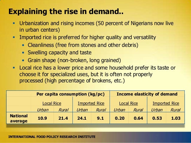Explaining the rise in demand..  Urbanization and rising incomes (50 percent of Nigerians now live in urban centers)  Im...