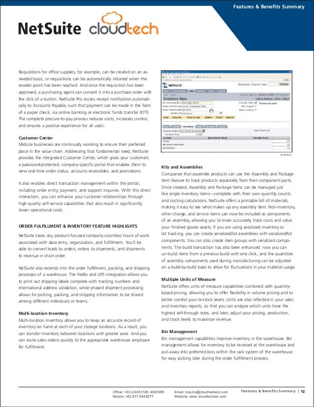 NetSuite Features and Benefits