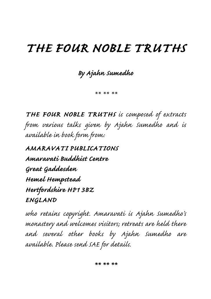 four noble truths essay The four noble truths essays: over 180,000 the four noble truths essays, the four noble truths term papers, the four noble truths research paper, book reports 184.