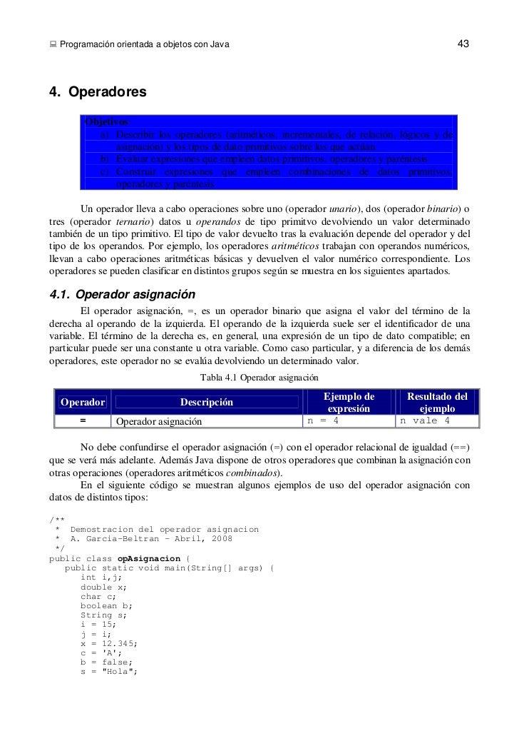  Programación orientada a objetos con Java                                                      434. Operadores        Ob...