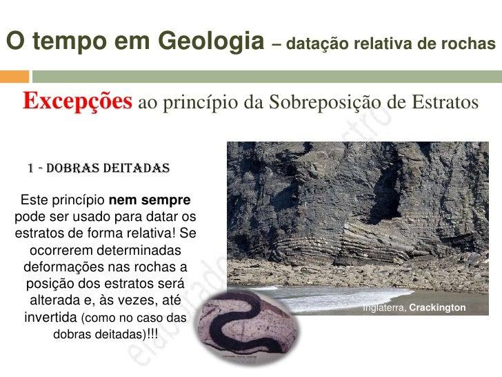 O tempo em Geologia – datação relativa de                                    rochas  Excepções ao princípio da Sobreposiçã...