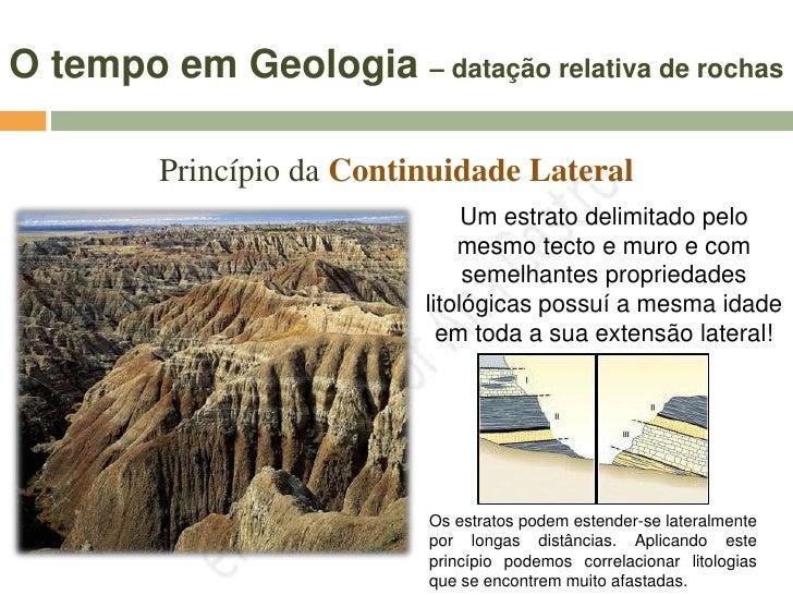 O tempo em Geologia – datação relativa de rochas           Princípio da Continuidade Lateral                              ...