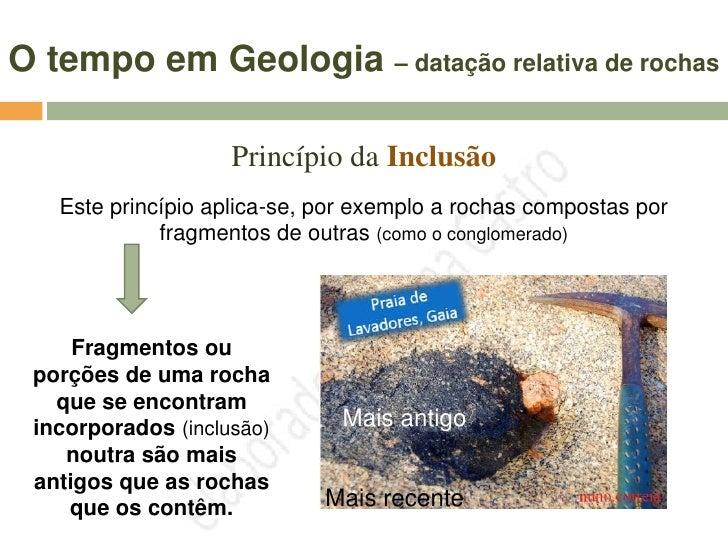 O tempo em Geologia – datação relativa de rochas                     Princípio da Intersecção  Este princípio aplica-se a ...