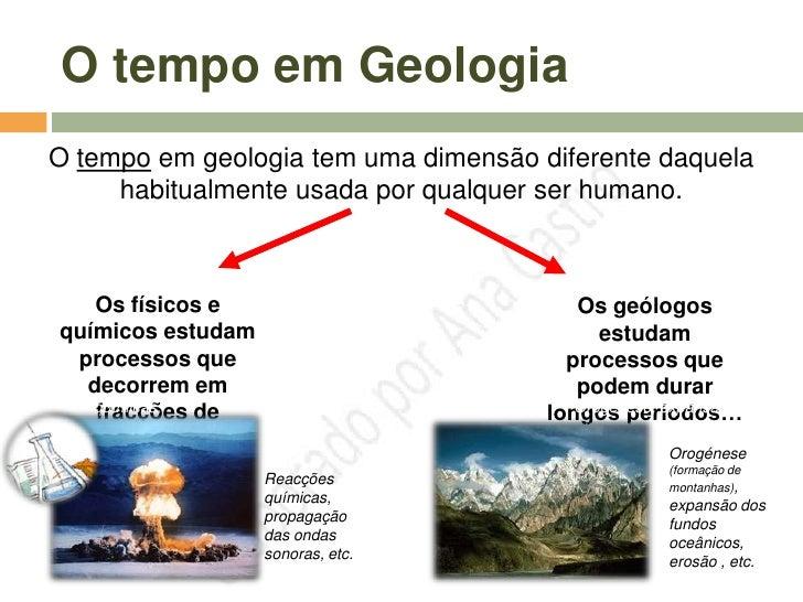 O tempo em Geologia   O tempo em geologia tem uma dimensão diferente daquela        habitualmente usada por qualquer ser h...