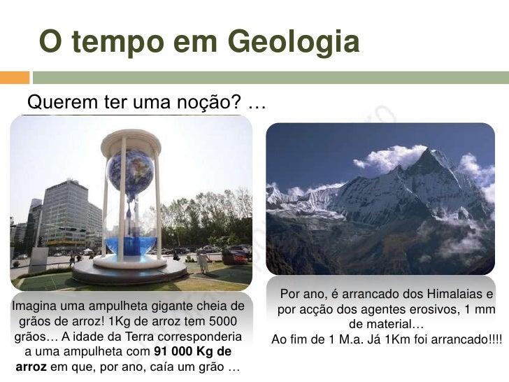 O tempo em Geologia   Querem ter uma noção? …                                                Por ano, é arrancado dos Hima...
