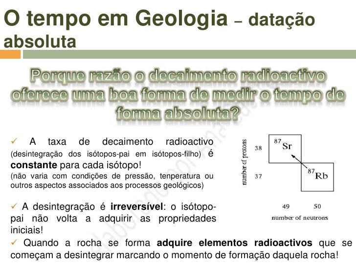 O tempo em Geologia – datação absoluta                     Qual o melhor isótopo                       para datar rochas  ...