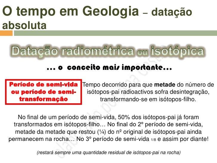 O tempo em Geologia – datação absoluta                   O Carbono-14 é muito usado                    na arqueologia e é ...