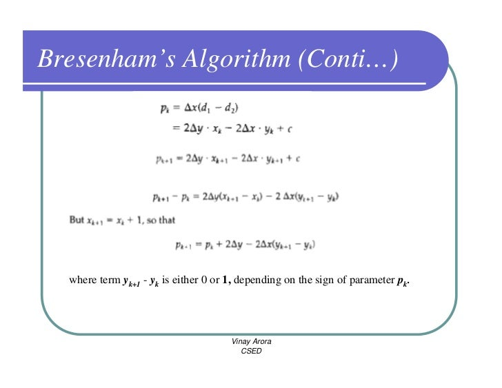 Bresenham Line Drawing Algorithm Visual Basic : Cg output primitives