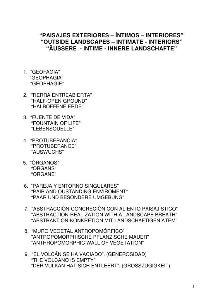 """PAISAJES EXTERIORES – ÍNTIMOS – INTERIORES""      ""OUTSIDE LANDSCAPES – INTIMATE - INTERIORS""        ""ÄUSSERE - INTIME - I..."