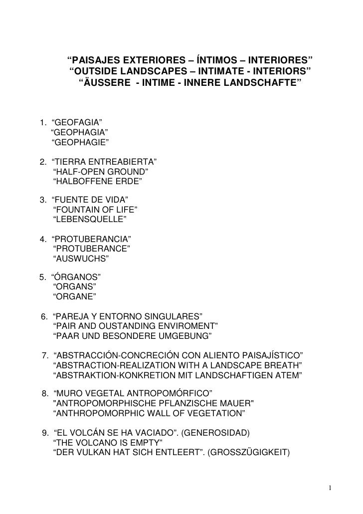 """PAISAJES EXTERIORES – ÍNTIMOS – INTERIORES""      ""OUTSIDE LANDSCAPES – INTIMATE - INTERIORS""        ""ÄUSSERE - INTIME - I..."