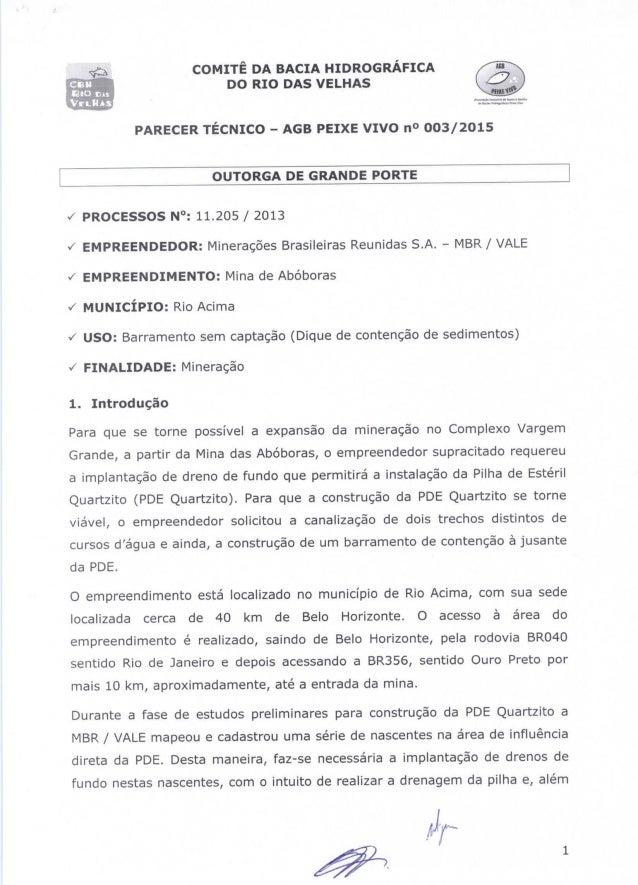"""C9"""" DO RIO DAS VELHAS  BIO m:  . Vnlus ~: -.: ::: :.: ::. -:. ~  ea COMITÊ DA BACIA HIDROGRÁFICA  PARECER TÉCNICO - AGB PE..."""