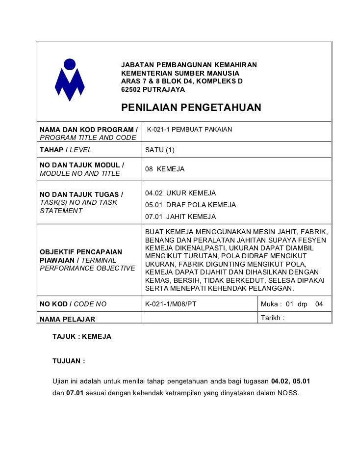 JABATAN PEMBANGUNAN KEMAHIRAN                        KEMENTERIAN SUMBER MANUSIA                        ARAS 7 & 8 BLOK D4,...