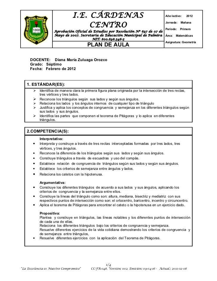 I.E. CÁRDENAS                                                Año lectivo:   2012                                     CENTR...