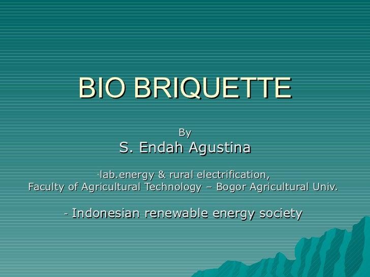 BIO BRIQUETTE                             By                 S. Endah Agustina             -lab.energy  & rural electrific...