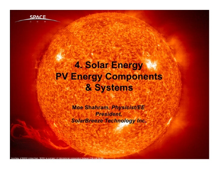 4. Solar Energy PV Energy Components        & Systems    Moe Shahram, Physicist/EEIntroduction & Market Place            P...