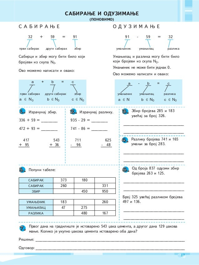 ffIZVODQIVOST SABIRAWA I ODUZIMAWAU SKUPU N19Skup prirodnih brojeva zapisujemo na slede}i na~in:N = {1, 2, 3, ..., 136, 13...