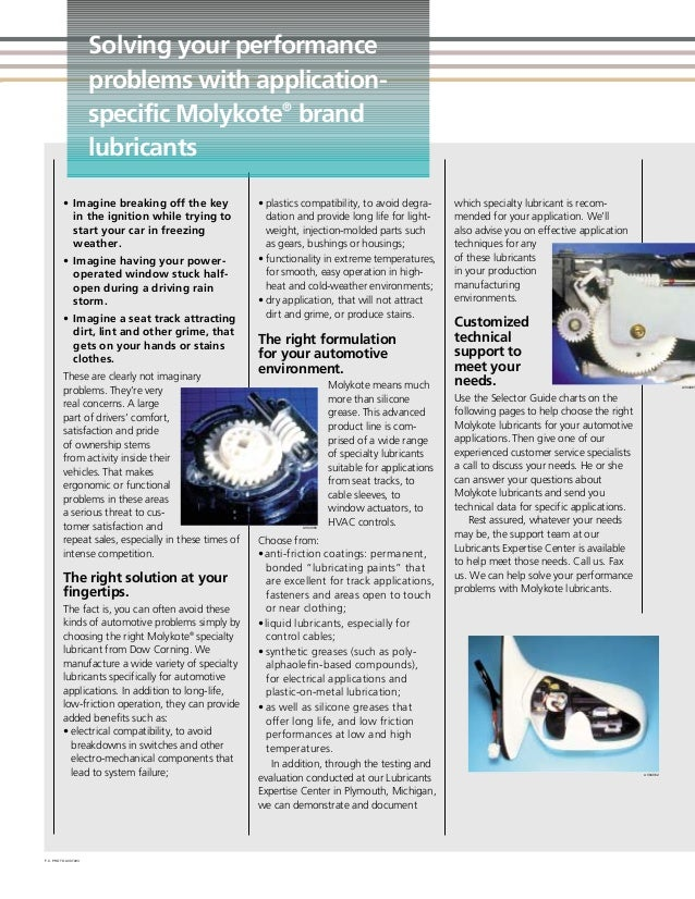 Molykote selector guide for automotive applications