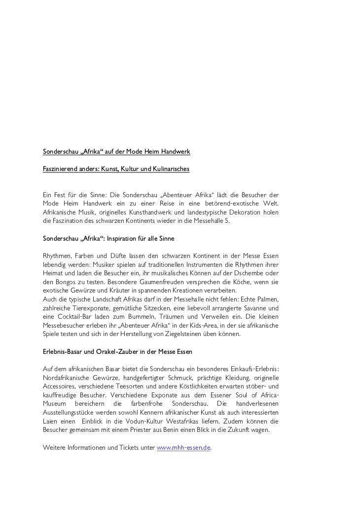"""Sonderschau """"Afrika"""" auf der Mode Heim HandwerkFaszinierend anders: Kunst, Kultur und KulinarischesEin Fest für die Sinne:..."""