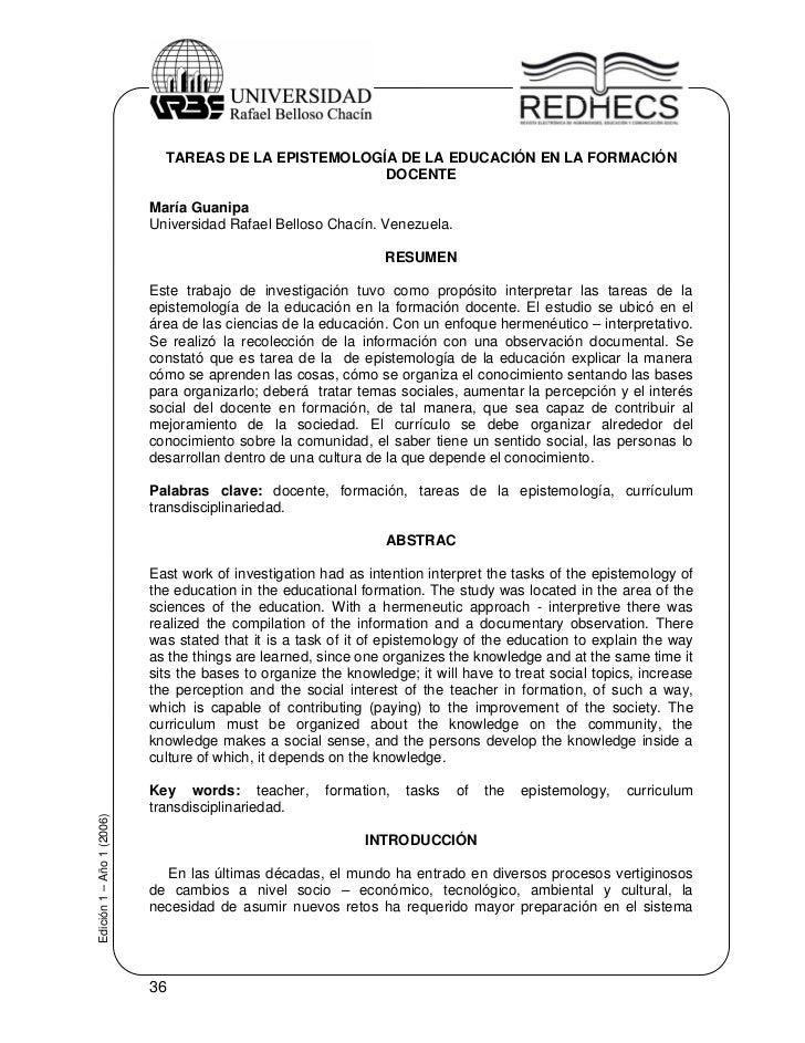 TAREAS DE LA EPISTEMOLOGÍA DE LA EDUCACIÓN EN LA FORMACIÓN                                                      DOCENTE   ...