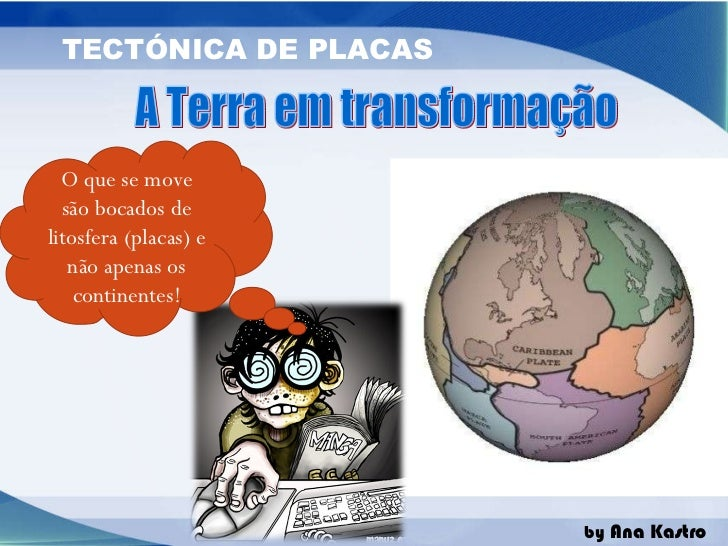 A Terra em transformação O que se move são bocados de litosfera (placas) e não apenas os continentes!