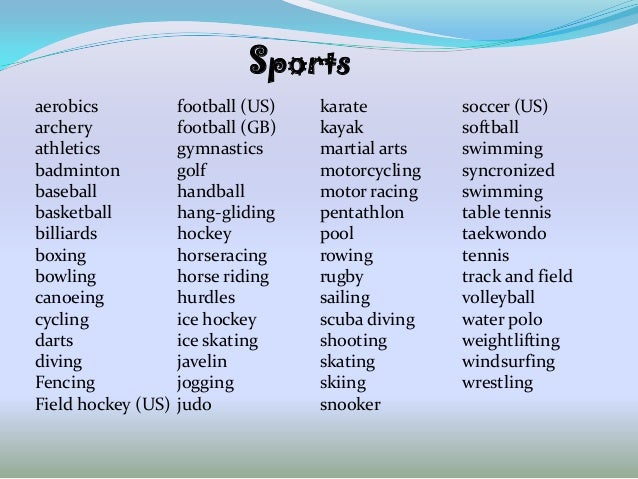 Sportsaerobics            football (US)   karate         soccer (US)archery             football (GB)   kayak          sof...