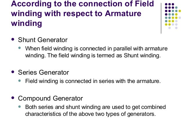 According to the connection of Field  winding with respect to Armature  winding   Shunt Generator   When field winding i...