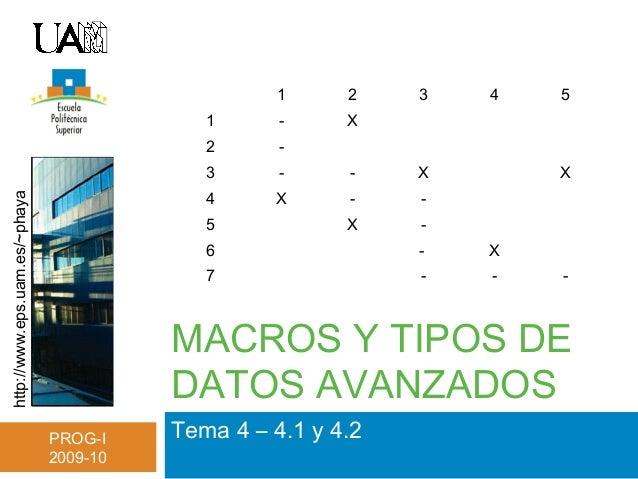 http://www.eps.uam.es/~phaya PROG-I 2009-10 MACROS Y TIPOS DE DATOS AVANZADOS Tema 4 – 4.1 y 4.2 1 2 3 4 5 1 - X 2 - 3 - -...