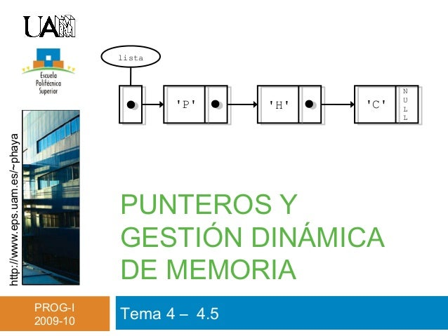 http://www.eps.uam.es/~phaya PROG-I 2009-10 PUNTEROS Y GESTIÓN DINÁMICA DE MEMORIA Tema 4 – 4.5 N U L L 'P' 'H' 'C' lista