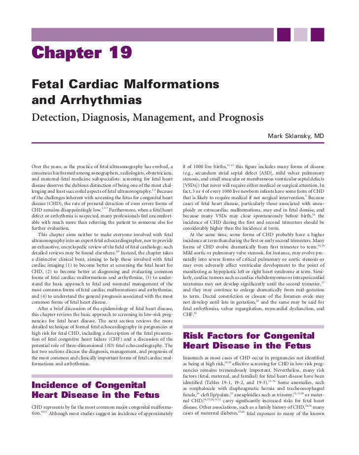 Chapter 19Fetal Cardiac Malformationsand ArrhythmiasDetection, Diagnosis, Management, and Prognosis                       ...