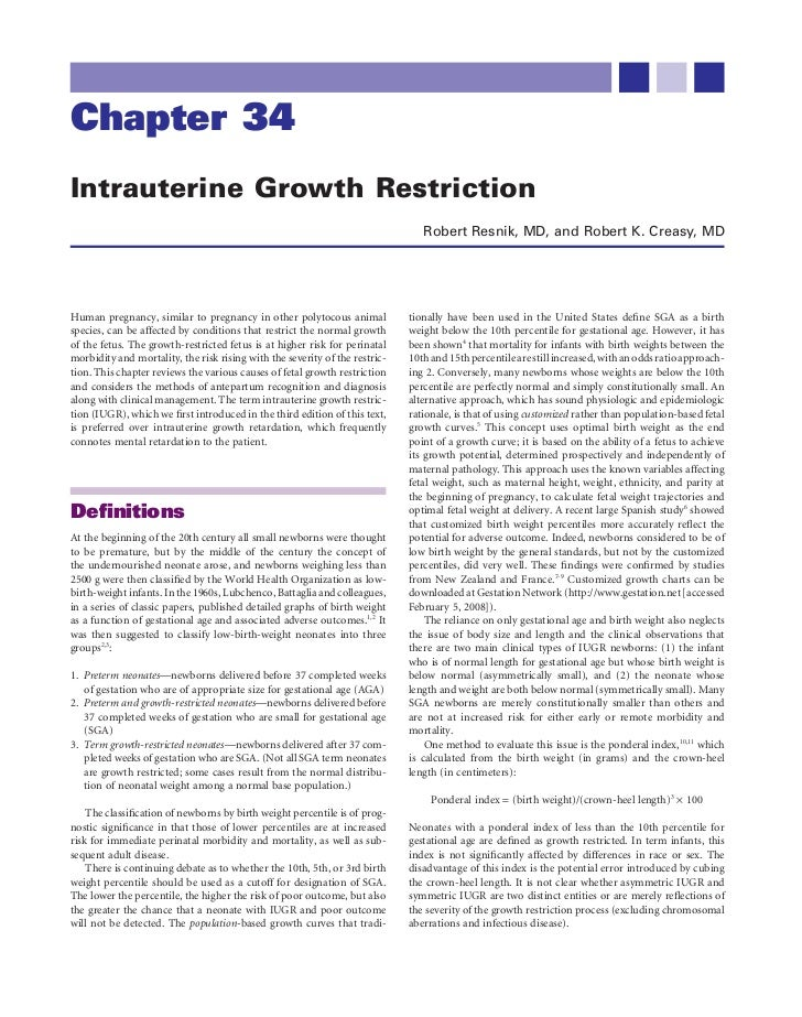 Chapter 34Intrauterine Growth Restriction                                                                                R...