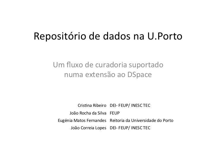 Repositório de dados na U.Porto        Um fluxo de curadoria suportado         numa extensão ao ...