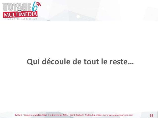 #VEM6 - Voyage en Multimédia 4   5 & 6 Février 2015   Saint-Raphaël - Slides disponibles sur www.salon-etourisme.com 33 Qu...