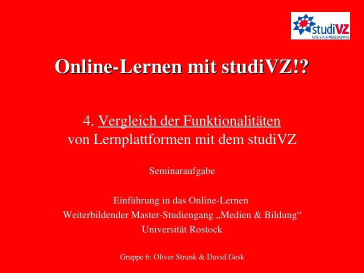 """Online-Lernen mit studiVZ!? Seminaraufgabe Einführung in das Online-Lernen  Weiterbildender Master-Studiengang """"Medien & B..."""