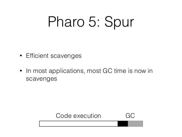 Pharo 5: Spur • Efficient scavenges • In most applications, most GC time is now in scavenges Code execution GC