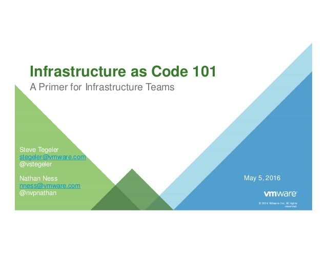 © 2014 VMware Inc. All rights reserved. Infrastructure as Code 101 A Primer for Infrastructure Teams May 5, 2016 Steve Teg...