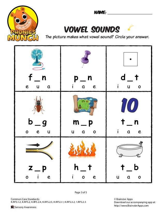 Printables Vowel Sound Worksheets vowel sounds phonics worksheet