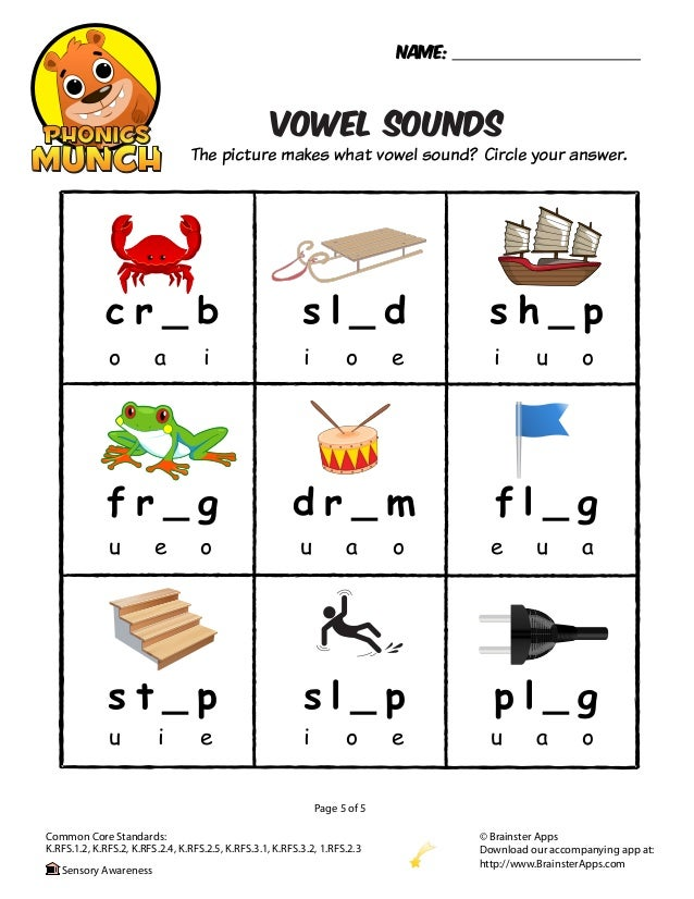 Worksheet Vowel Sound Worksheets vowel sounds phonics worksheet rfs 2 3sensory awareness 5