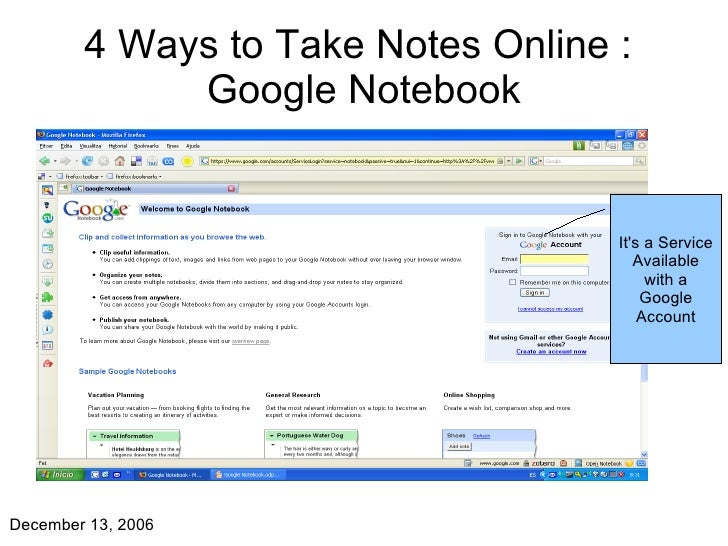 4 Ways to Take Notes Online :  Google Notebook It's a Service Available with a Google Account