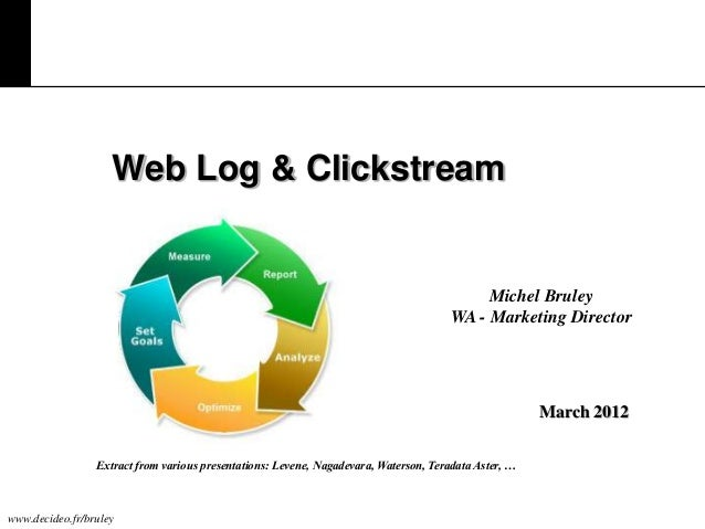 Web Log & Clickstream  Michel Bruley WA - Marketing Director  March 2012 Extract from various presentations: Levene, Nagad...