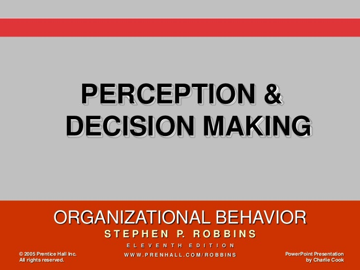 PERCEPTION &                   DECISION MAKING              ORGANIZATIONAL BEHAVIOR                            S T E P H E...