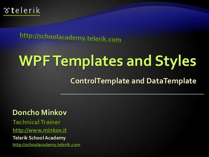 WPF Templating and Styling