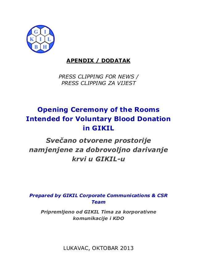APENDIX / DODATAK PRESS CLIPPING FOR NEWS / PRESS CLIPPING ZA VIJEST  Opening Ceremony of the Rooms Intended for Voluntary...