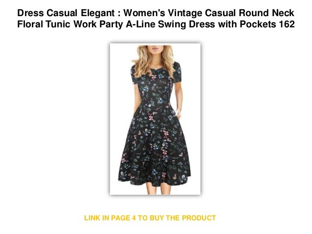 eccd47bb61306 Dress Casual Elegant   Women s Vintage Casual Round Neck Floral Tunic Work  Party A-Line Swing Dress with Pockets 162 Casual Dress
