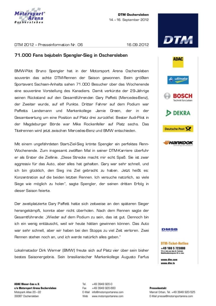 DTM 2012 – Presseinformation Nr. 06                              16.09.201271.000 Fans bejubeln Spengler-Sieg in Oschersle...