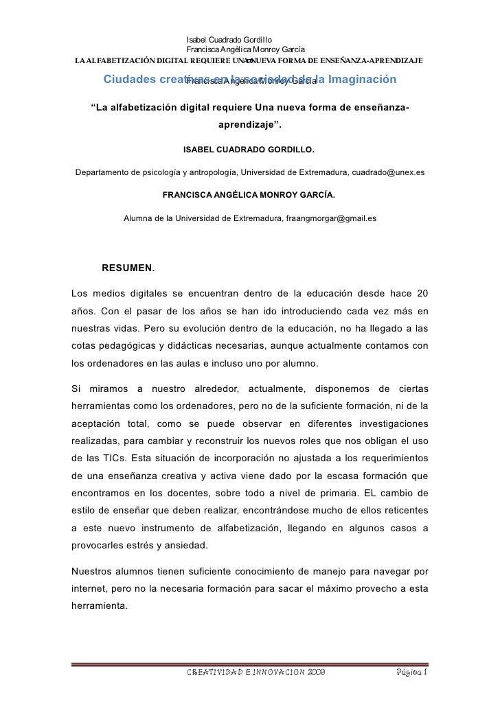 Isabel Cuadrado Gordillo                            Francisca Angélica Monroy García LA ALFABETIZACIÓN DIGITAL REQUIERE UN...