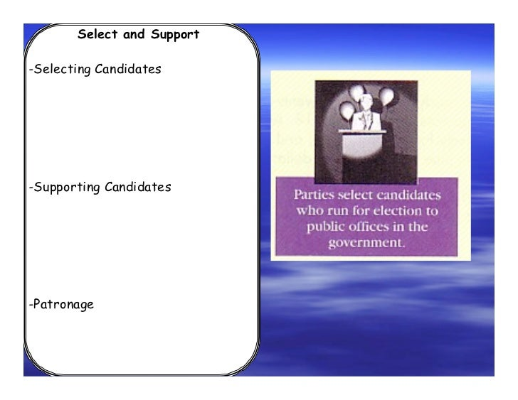 Select and Support-Selecting Candidates-Supporting Candidates-Patronage