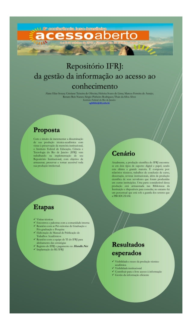 Repositório IFRJ: da gestão da informação ao acesso ao conhecimento - CONFOA 2017