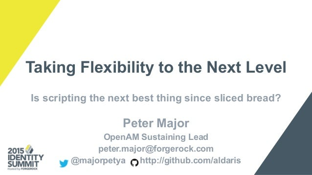 Taking Flexibility to the Next Level Is scripting the next best thing since sliced bread? Peter Major OpenAM Sustaining Le...