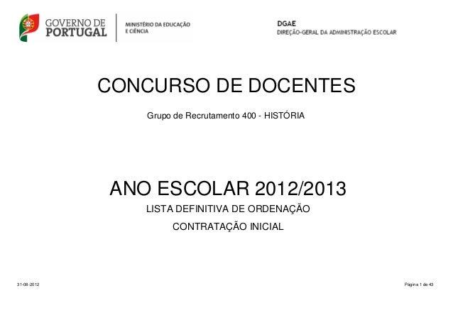 CONCURSO DE DOCENTESGrupo de Recrutamento 400 - HISTÓRIAPágina 1 de 43LISTA DEFINITIVA DE ORDENAÇÃOANO ESCOLAR 2012/201331...
